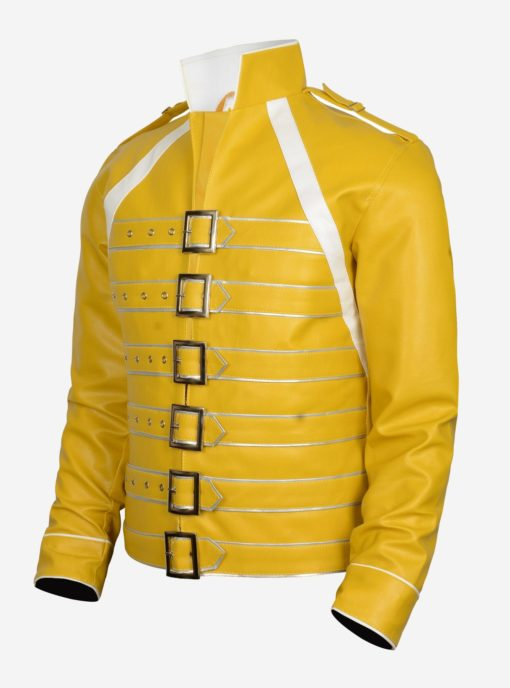 Yellow Men Leather Jacket