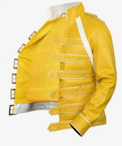 Yellow Stylish Adjustable Belted Leather Jacket