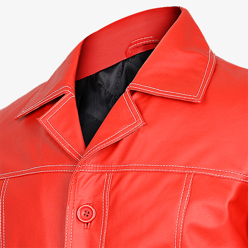 Red Shirt Style Collar Jacket