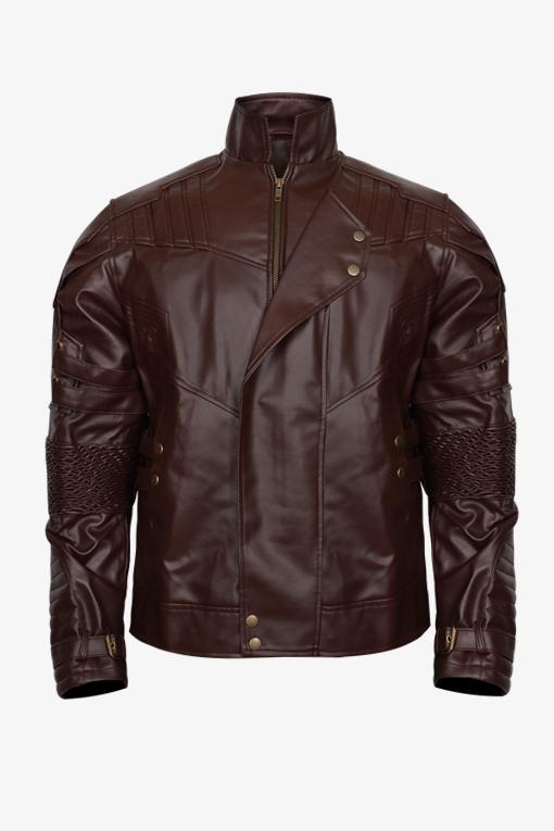 Maroon Simple Slim Fit Biker Jacket