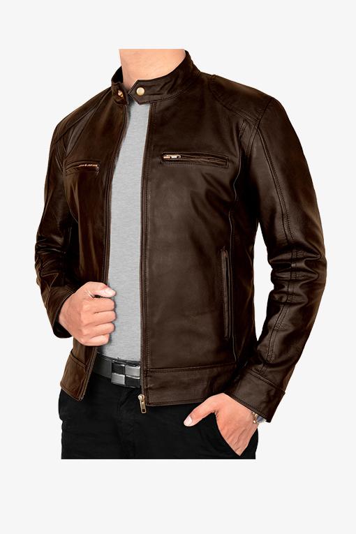 vintage brown leather jacket-3