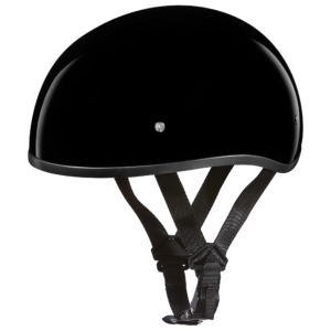 Motorcycle Half Skull Cap Hi-Gloss Black Helmets - 100% DOT Approved