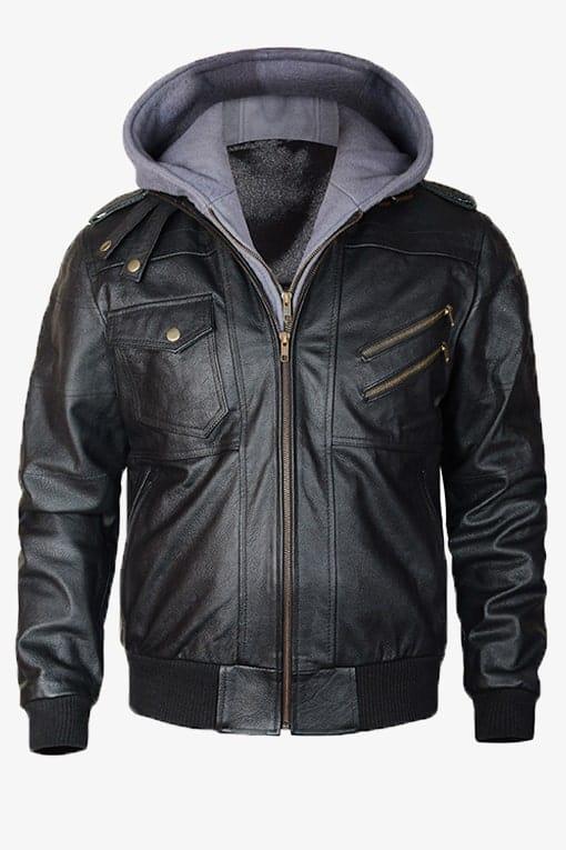 Black Bomber Leather Jacket for men removable hood