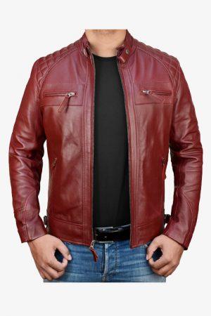 Diamond Red Leather Motorcycle Jacket