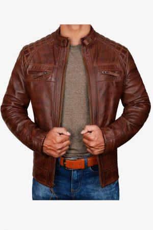 Diamond Antique Brown Moto Leather Jacket