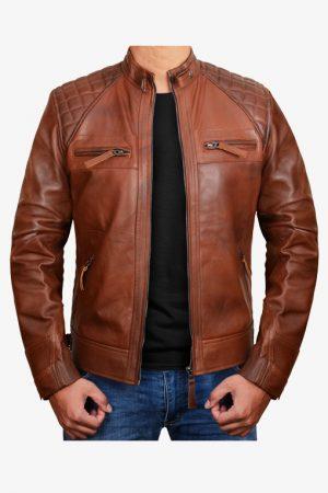 Diamond Brown Moto Leather Jacket