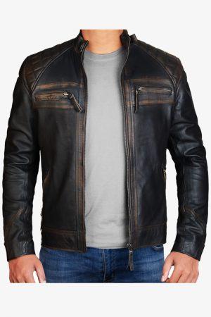 Diamond Distressed Black Leather Jacket