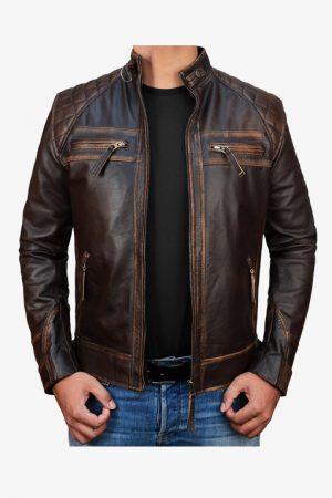Diamond Distressed Brown Moto Leather Jacket