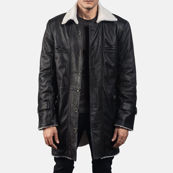 Mens Suede Shearling Black Leather Coat